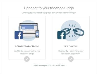 成功登記後就會到這個畫面,系統會向你提問需不需要即時連接網店的 Facebook 專頁,這是因為 Storeberry 網店平台中設有與 Facebook 專頁連接的功能,這容後再說明,所以先點選右方的跳過此步驟。