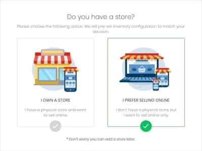 之後,系統會再向你提問你有沒有實體店,因為 Storeberry 網店平台中設有與實體店連接的功能,這樣你的網上和網下商店的產品存貨、訂購             單、會員資料便能同步,是不是十分強大?但今天我們目標是快速開設網店,所以這次還是先跳過。