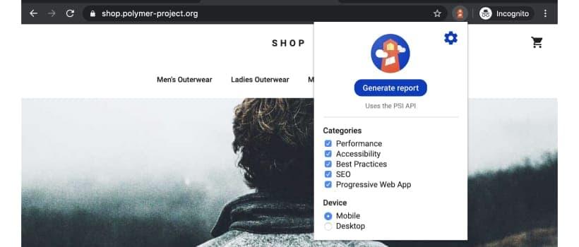 點擊「Generate report」按鈕,便會開始對網站進行審查
