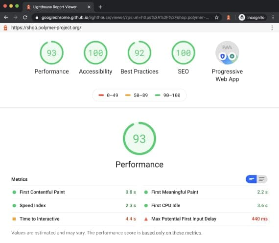 Progressive App評分是基於網站能否讓 Web application 盡可能的在各種環境(網路環境、手機作業系統等)下都能順暢且不減功能性的運作